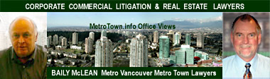 Photos of lawyers and view fr offices of Burnaby Central Park and Vancouver in the distance fr MetroTown Office Towers