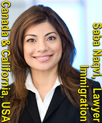 Saba Naqvi, Canada lawyer & California attorney, assists business  and individuals immigrate to Canada or California