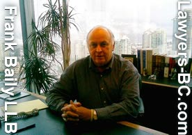 Frank Baily over 30 years experience in wills and wills litiigation, in office overlooking Kingsway from Metrotown Tower