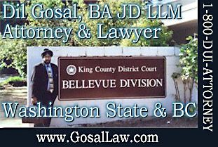 Dil Gosal in front of King County District Court, Bellvue Division, Washington State, where he does Criminal Defence Attorney work for clients - Click to GOSAL'S CANADA-USA WEB SITE ON CRIMINAL LAW