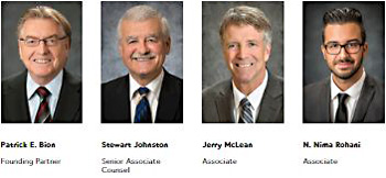 photos of lawyers: Pat Bion, founding partner; Stewart Johnston, senior associate; Jerry McLean, Associate; and N. Nima Rohani, Associate - business law services - click to McBOP website