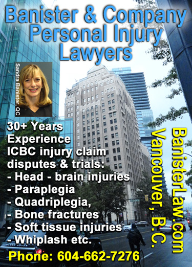 Sandra Banister, QC, photo in front of Marine Building on Burrard St. downtwon  Vancouver where her office is located for  over 30 years experience as a personal injury lawyer Click for more info.