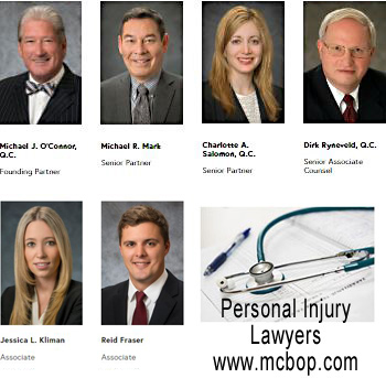 photos of personal injury lawyers Michael O'Connor, QC;  Michael Mark; Charlotte Salomon, QC; Dirk Ryneveld, QC;    Jessica Kilman, JD; Reid Fraser, JD -  with McConnon Bion O'Connor Peterson law firm medical malpractice and/or  personal injury icbc claims disputes