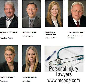 photos of personal injury lawyers Michael O'Connor, QC;  Michael Mark; Charlotte Salomon, QC; Dirk Ryneveld, QC;  Devon Black, JD;  Jessica Kilman with McConnon Bion O'Connor Peterson law firm medical malpractice and/or  personal injury icbc claims disputes