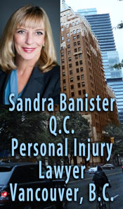 Sandra Banister, QC - 30+ years experience only handles  plaintiffs personal injury ICBC disputes over range of injuries e.g. brain, head, back, quadriplegia, whiplash injuries - this photo is of #670 - 355 Burrard St., her offices in the Marine Building - CLICK TO MORE INFO ABOUT Sandra Banister, QC