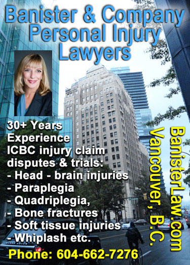 Sandra Banister, QC with downtown Marine Bldg. in photo, has over 30 years experience for ICBC Auto & Motorbike Injury Claims settlements  and court trials- CLICK TO BanisterLaw.com