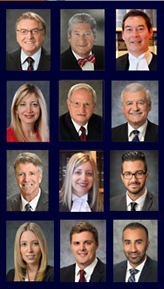 McConnan Bion O'Connor Peterson  photo collage of 11 lawyers, Michael is a senior partner, 3rd on the top right of the group photo