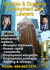 Sandra Banister, QC over 30 years experience with employment law, wrongful dismissals, and labour law, and J. Hanvelt, MA LLB pictured with Marine Building on Burrard St. where their offices are located