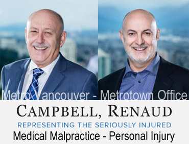 photos of Ian Campbell and  Don Renauld  with view of Metrotown Skytrain station below from their offices in MetroTower in Metrotown mall in Burnaby, experienced in  medical malpractice/negligence e.g. birth defects  and crebral palsy, also handle serious person injury claims and ICBC disputes