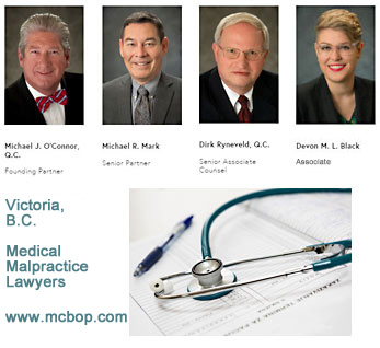 Victoria's Michael O'Connor, QC;  Michael Mark LLB; Ryneveld, QC; Devon Black, JD, with McConnon Bion O'Connor Peterson law firm medical malpractice and/or  personal injury icbc claims disputes